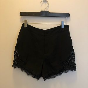 Black shorts with lace